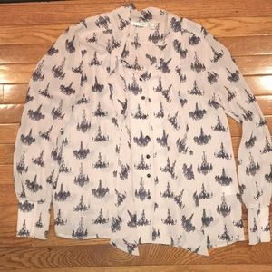 Halogen button down blouse small